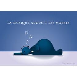 Carte postale La musique adoucit les morses